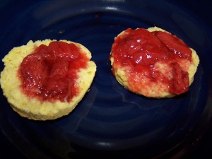 Freshly baked scones with jam